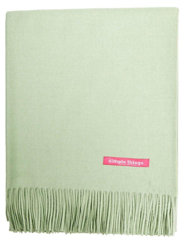 Solid Alpaca-Blend Throw, Celadon Green