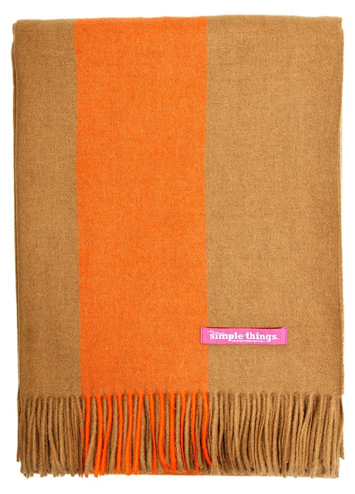 Stripe Alpaca-Blend Throw, Camel/Orange