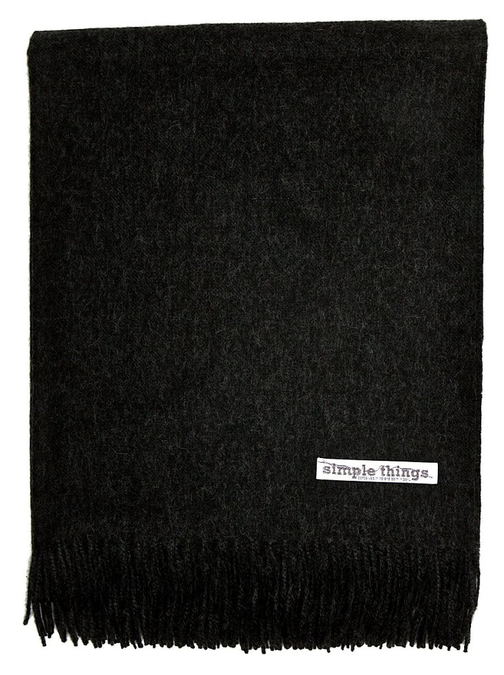 Solid Alpaca Throw, Black