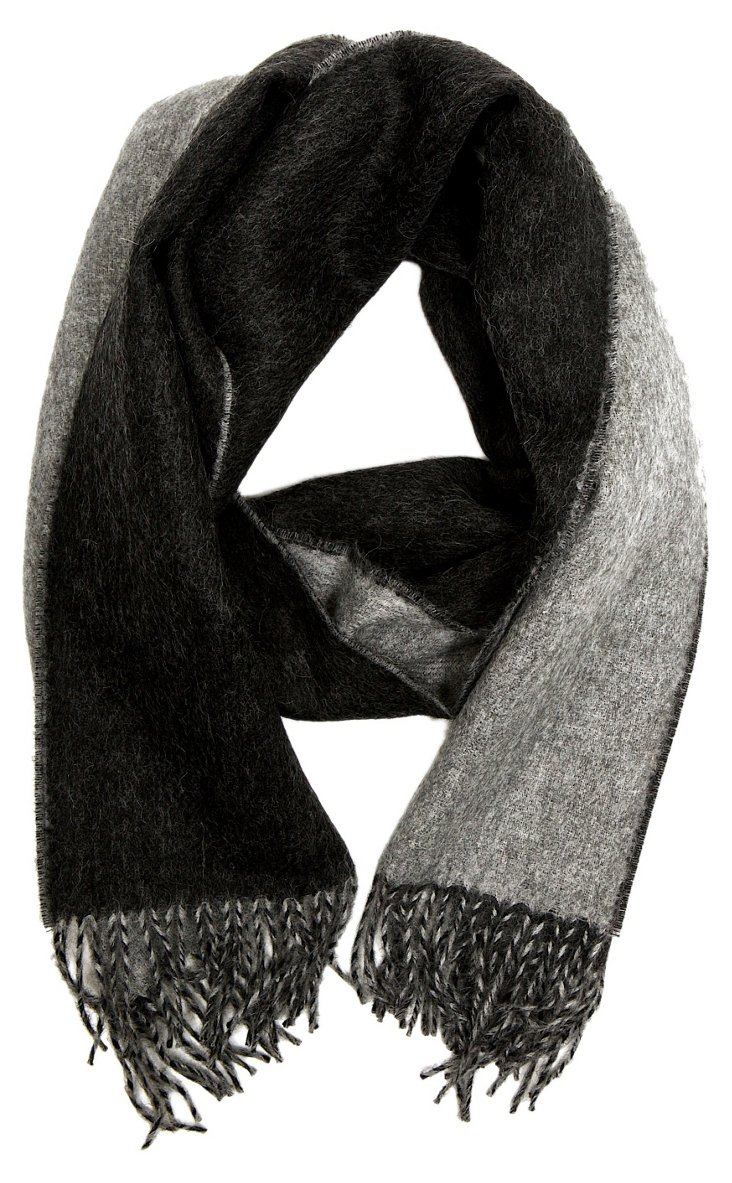 Double Face Scarf, Gray/Charcoal