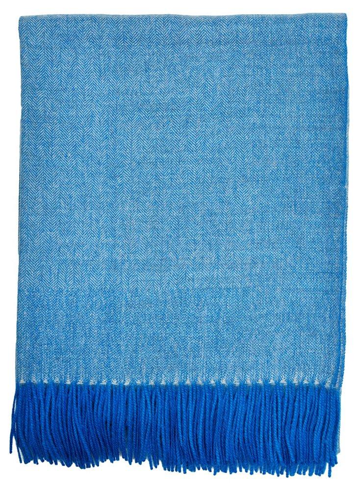 Herringbone Alpaca Throw, Blue