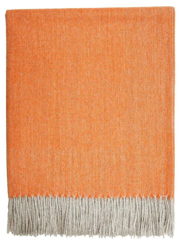 Herringbone Alpaca Throw, Orange