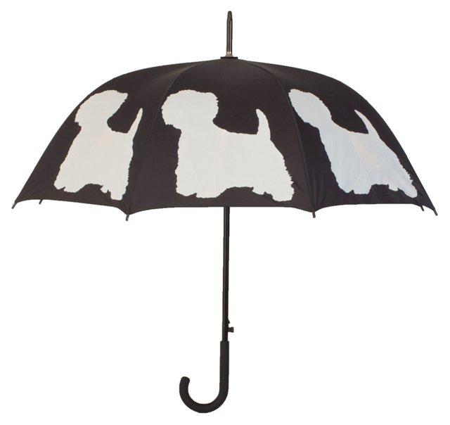 White Terrier Stick Umbrella