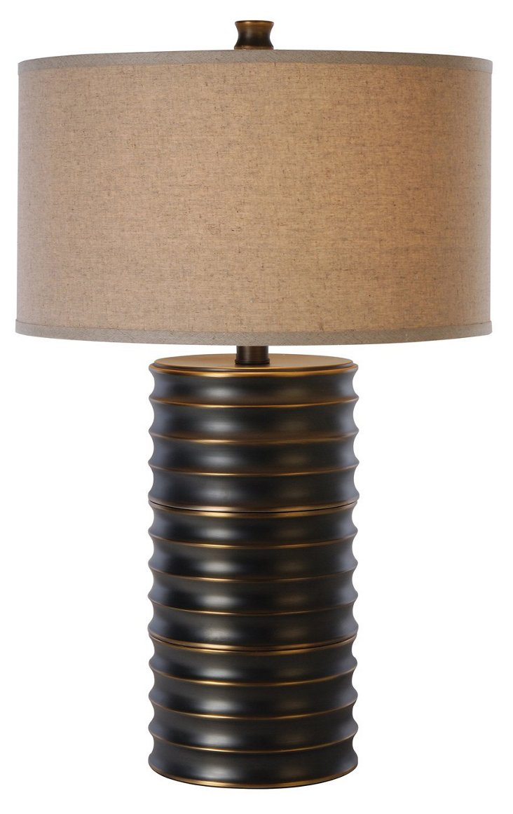 Wave Table Lamp, Brass