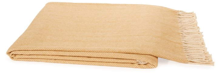 Fringed Cotton Throw, Camel