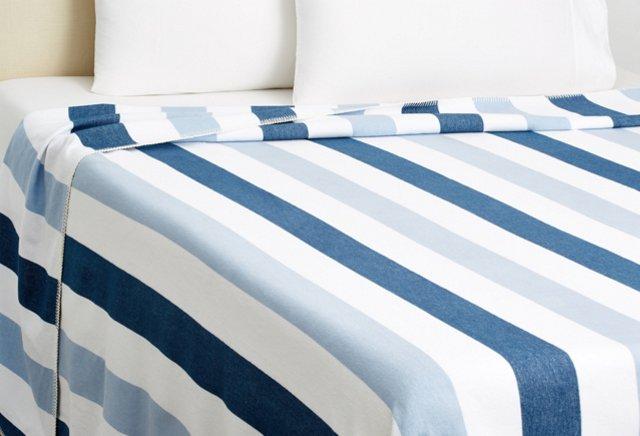King Deck Stripe Blanket, Indigo