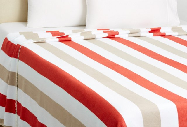 Queen Deck Stripe Blanket, Coral/Fawn