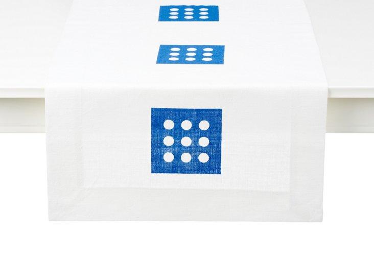 Blue Nine Dot Table Runner, Long
