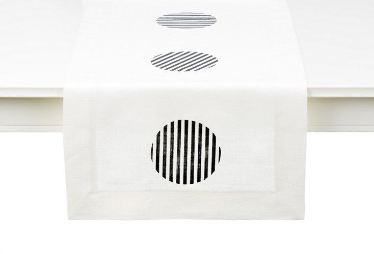 White Circle-Stripe Table Runner, Short