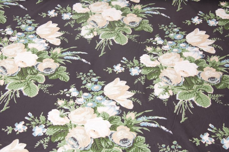 Black Floral Chintz Fabric, 20 Yds.