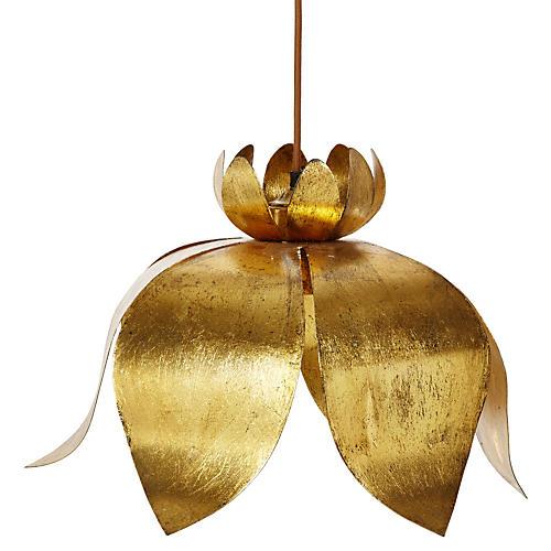 Jasmin Lotus Pendant, Gold Leaf