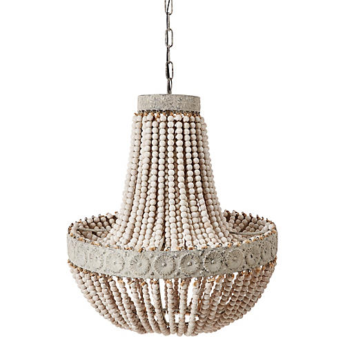 Marion Wood-Beaded Chandelier, White