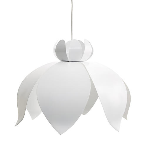Jasmin Lotus Pendant, Matte White