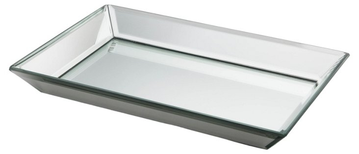 Glass Beveled Mirror Tray