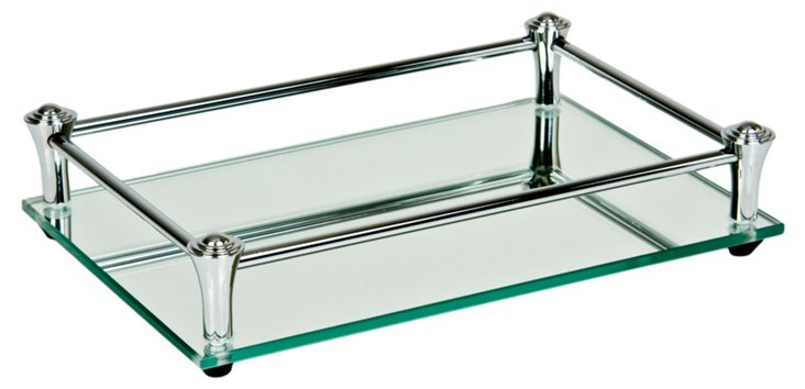 Square Vanity Mirror Tray, Chrome