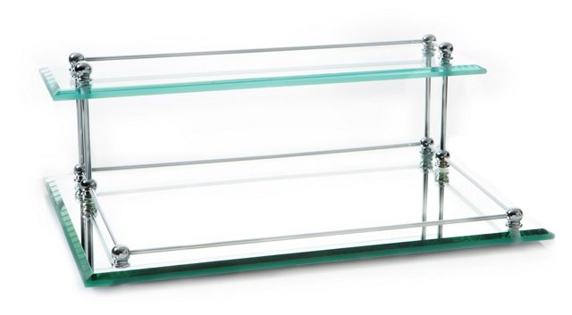 Glass Two-Tier Bevel Valet Tray