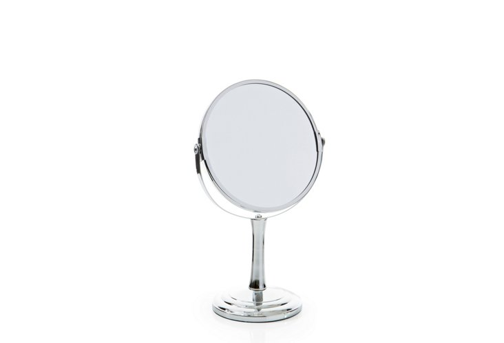 Vanity Mirror with Fluted Stem, Chrome