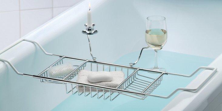 Bath Caddy, Candle & Wine Glass Holder