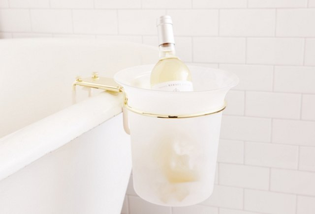 Frosted Acrylic Bath Ice Bucket, Brass
