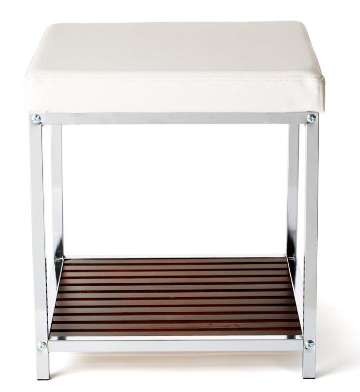 Vanity Bench w/ Vinyl Seat & Wood Shelf