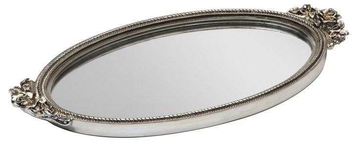 Antique Rose Mirror Tray, Silver