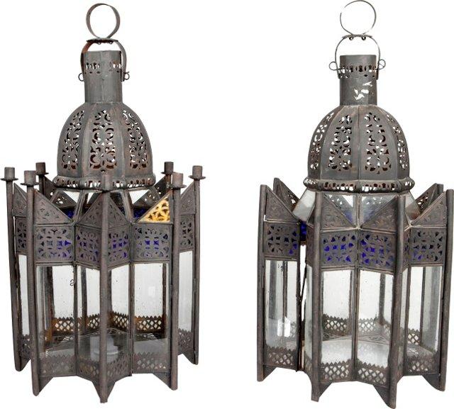 Moroccan Iron Light Fixtures, Pair