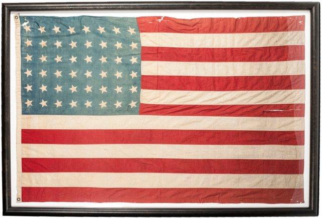 Vintage 48-Star Flag Framed