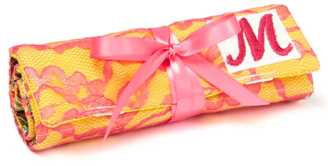 Monogrammed Romance Jewelry Roll, Pink