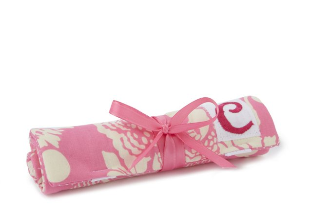 Monogrammed Jewelry Roll, Poppies Rose