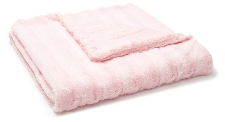 Channel Faux-Fur Baby Blanket, Pink