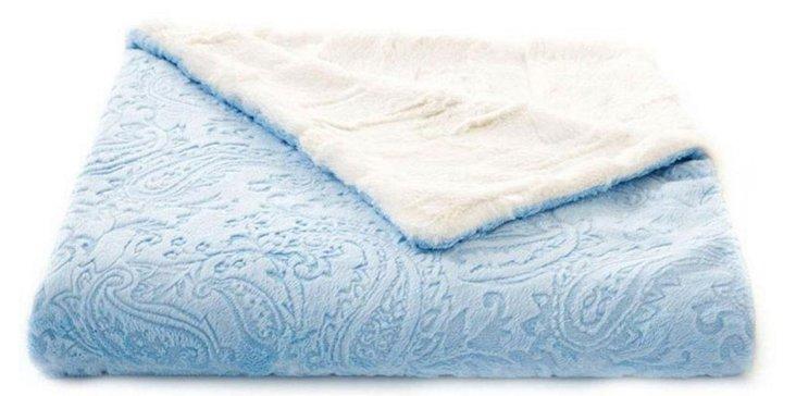 Paisley Baby Blanket, Blue/Ivory