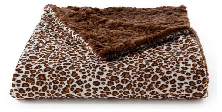 Cheetah Faux-Fur Baby Blanket, Chocolate