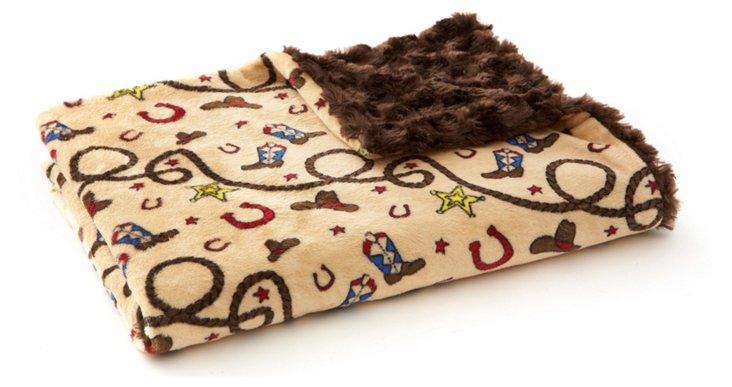 Little Cowboy Faux-Fur Baby Blanket, Brown