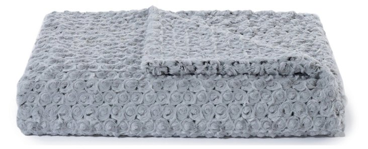 Rosebud Throw, Gray/Black