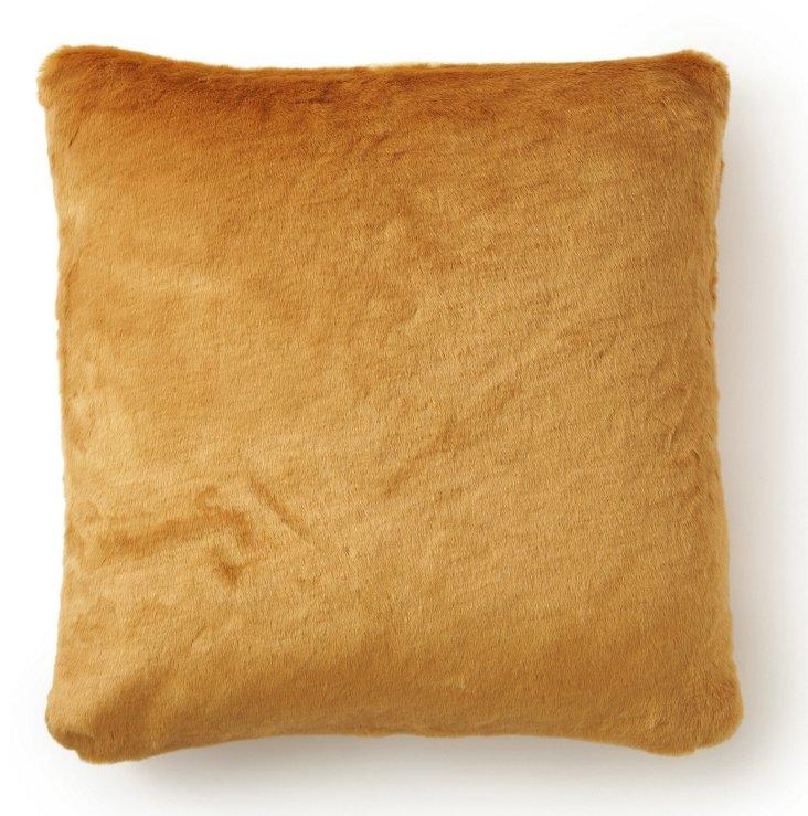 Beaver 20x20 Faux-Fur Pillow, Camel