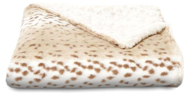 Snow Leopard Faux Fur Throw, Beige