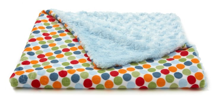 Playful Dot Baby Blanket, Blue