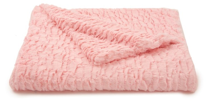 Seashell Faux-Fur Baby Blanket, Pink