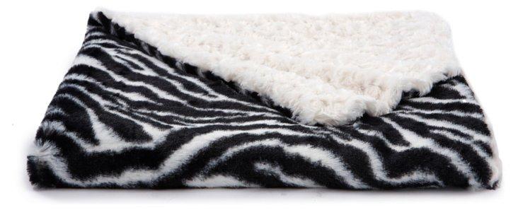 Zebra Faux-Fur Baby Blanket, Ivory