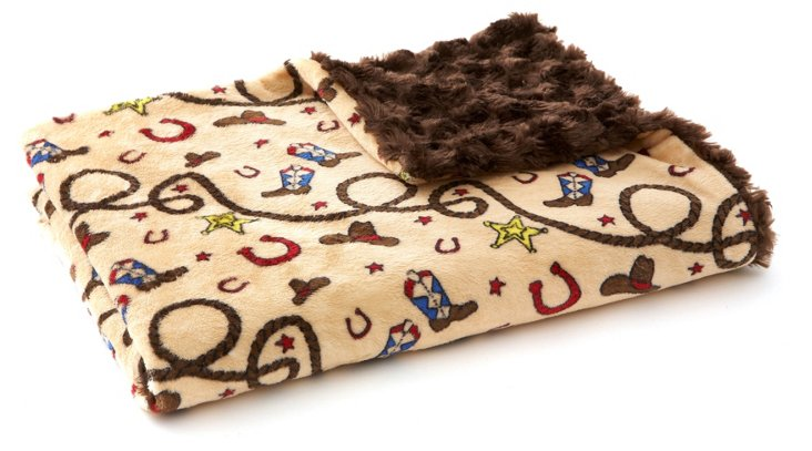 Little Cowboy Faux-Fur Baby Blanket