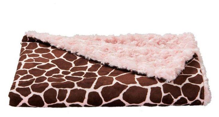 Giraffe Faux-Fur Baby Blanket, Pink