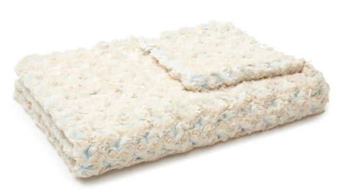 Rosebud Baby Blanket, Cream/Blue
