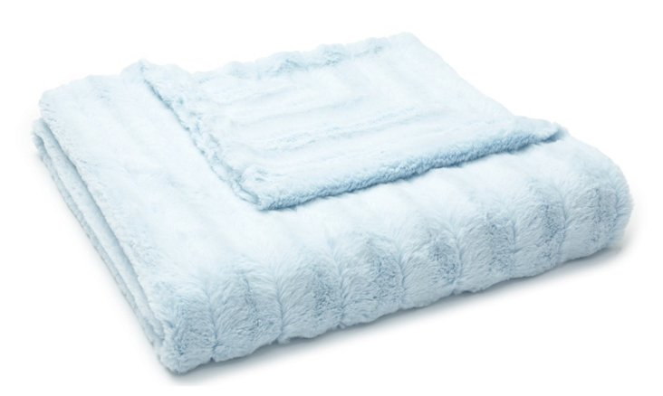 Channel Faux-Fur Baby Blanket, Blue