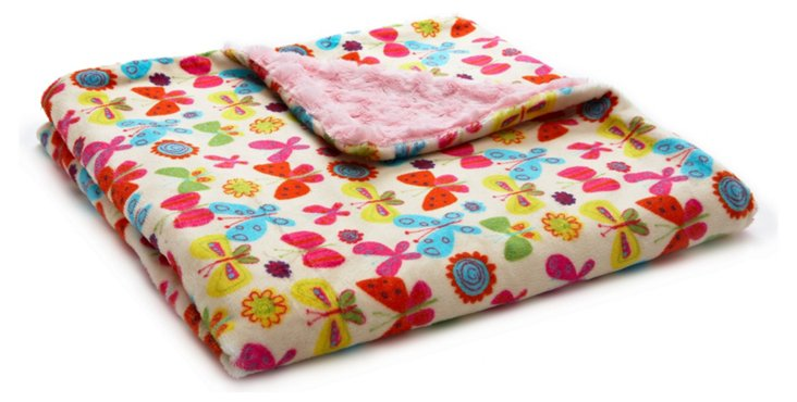 Butterfly Hill Toddler Blanket, Pink