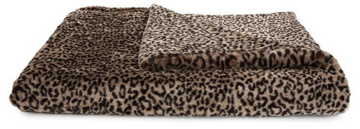 Leopard Throw, Black/Beige
