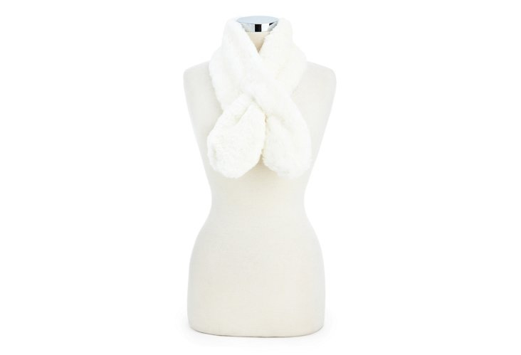 Mink Pull-Through Scarf, Ivory