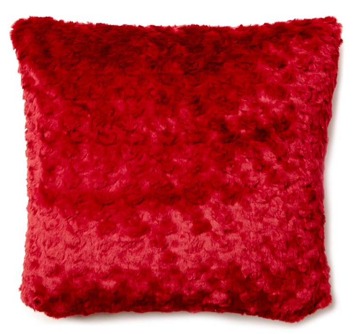 Mink Velvet 20x20 Pillow, Red
