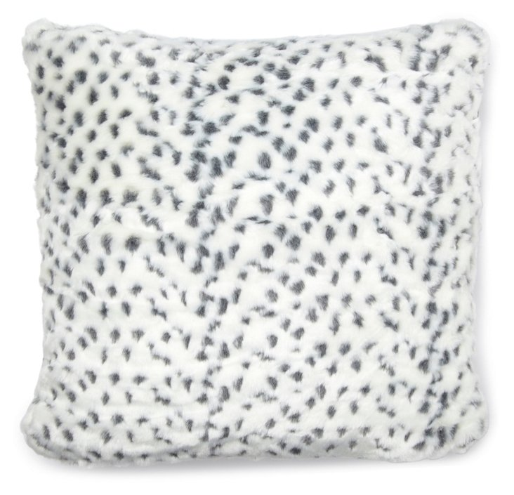 Lynx 20x20 Faux-Fur Pillow, White