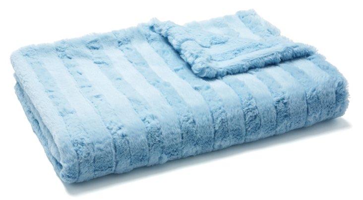 Stripe Cuddle Baby Blanket, Blue
