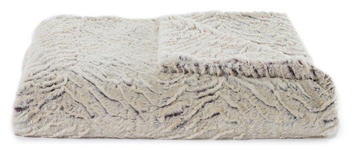 Two-Tone Zebra Oversize Throw, Cream